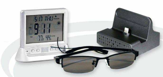 a clock charger and glasses