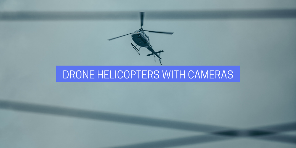 a drone helicopter flying in a gloomy sky