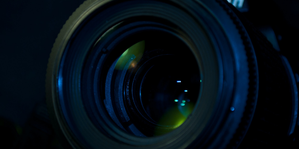 a camera lens zoomed in