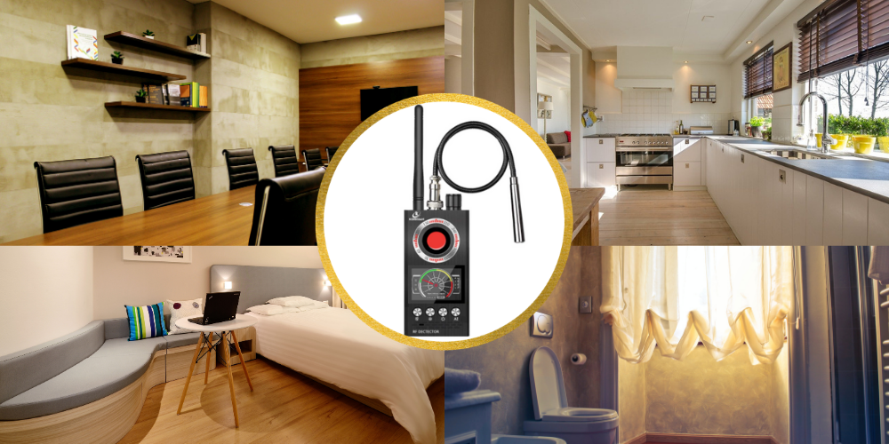 bug detector in conference, kitchen, bedroom and bathroom