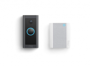 two RING brand doorbell