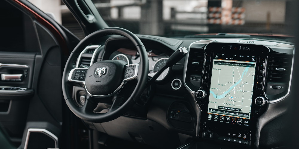 inside of the car with GPS