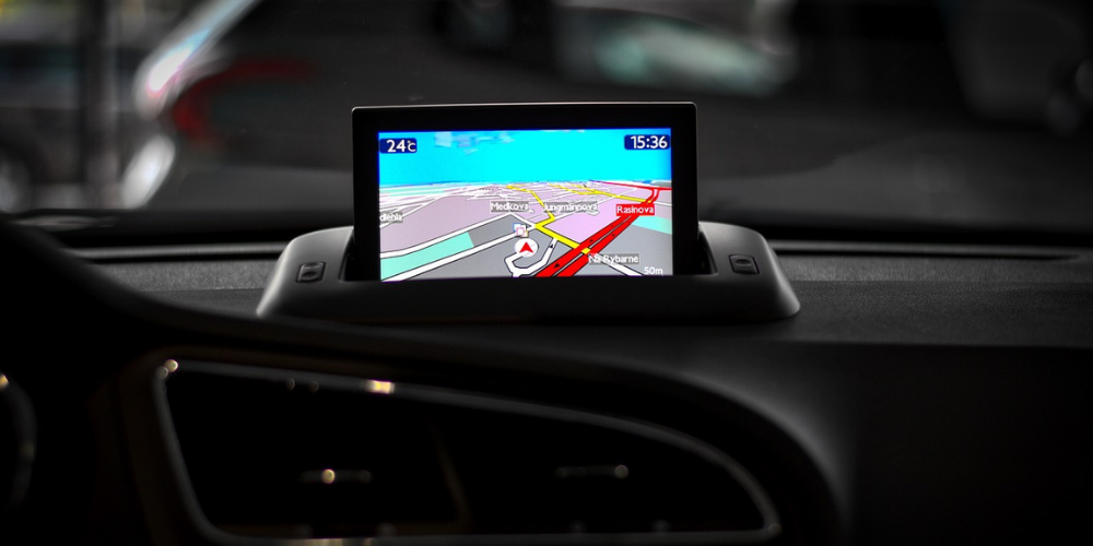 GPS is on in a car