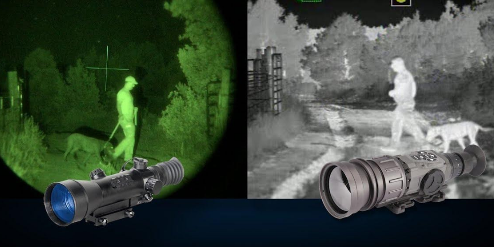side by side comparison; night vision and thermal vision