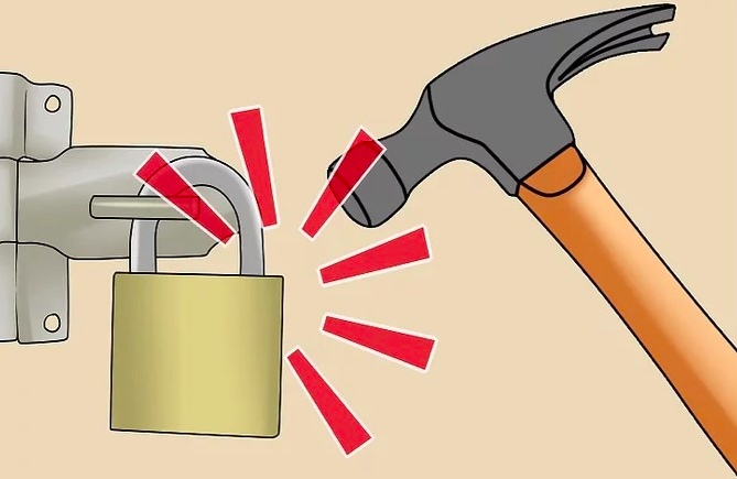 opening padlock with lost key